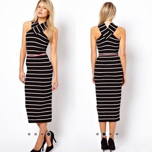 Ted Baker Striped Midi Dress Cross Over Neck